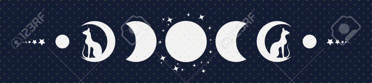Triple moon and cats, pagan Wiccan goddess symbol, moon phases, silhouette wicca banner sign, energy circle. Sacred geometry of the wheel of the year, vector isolated on blue gold dots background - 173950953