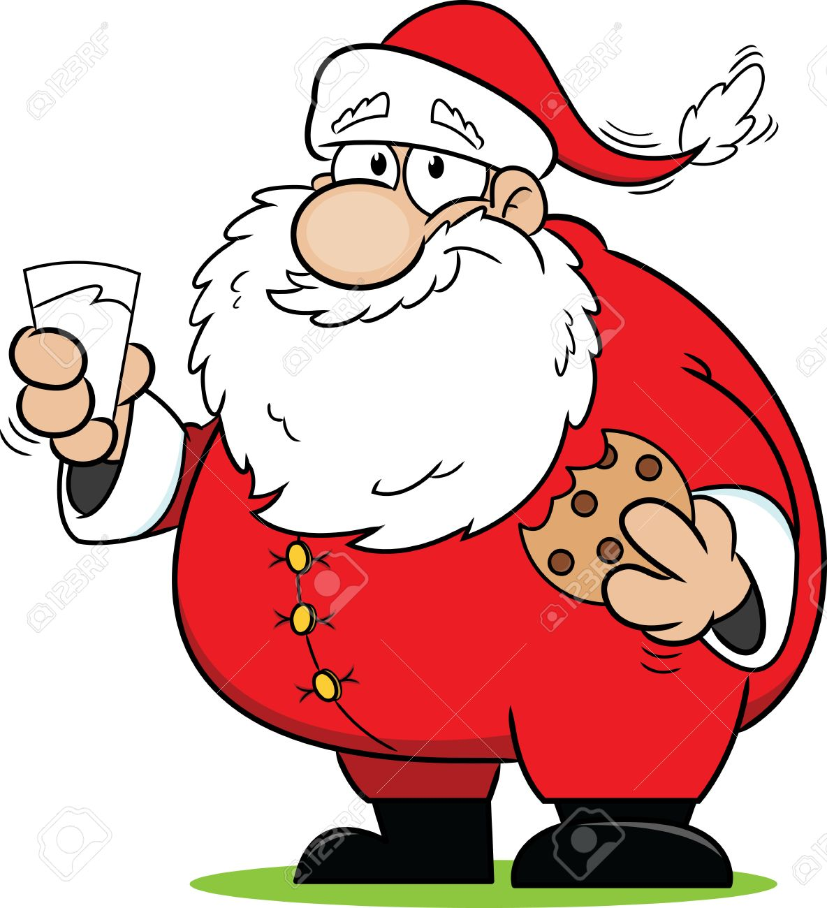 Cartoon Santa Claus Snacking On Some Cookies And Milk