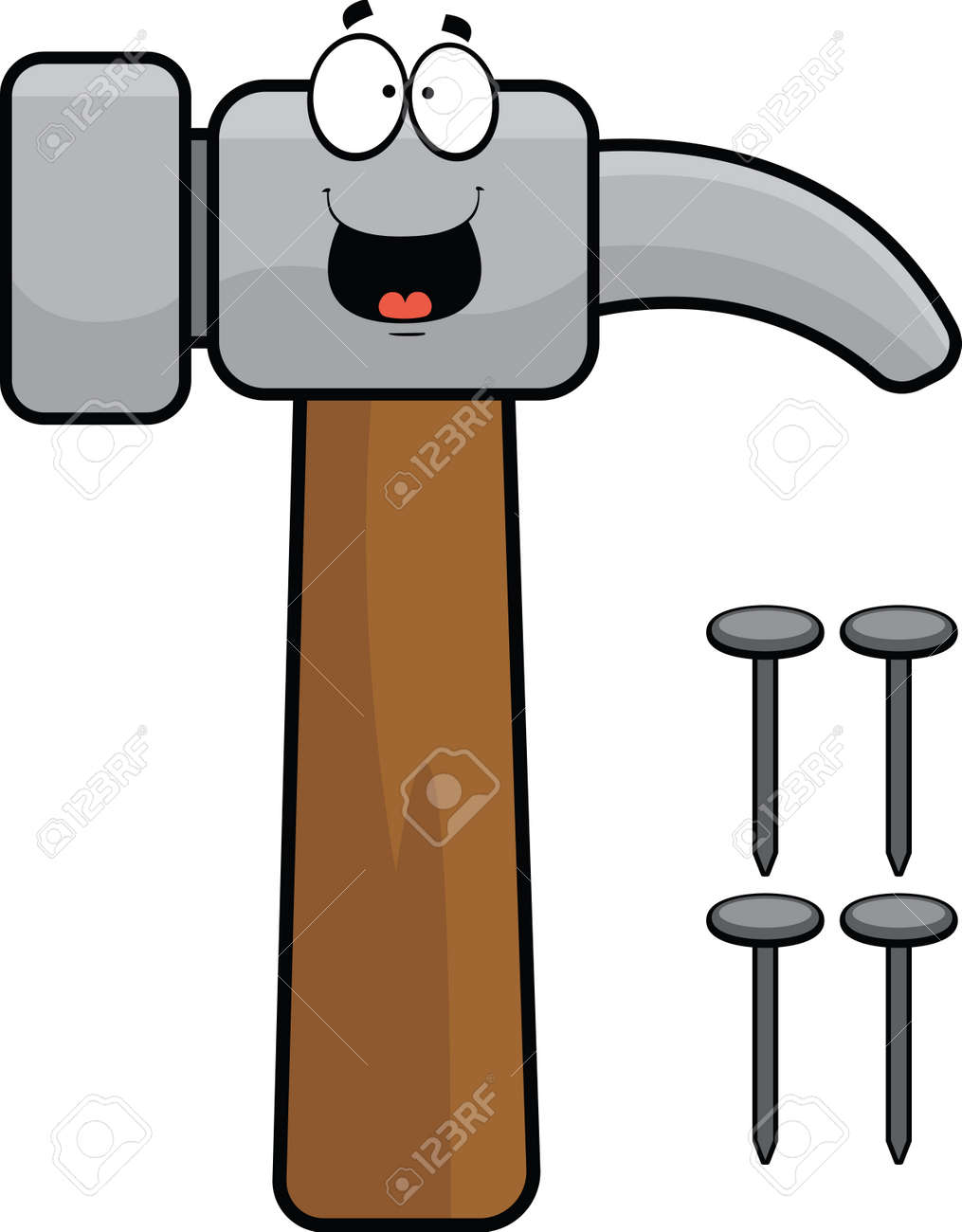 Cartoon illustration of a hammer and nails with a happy expression