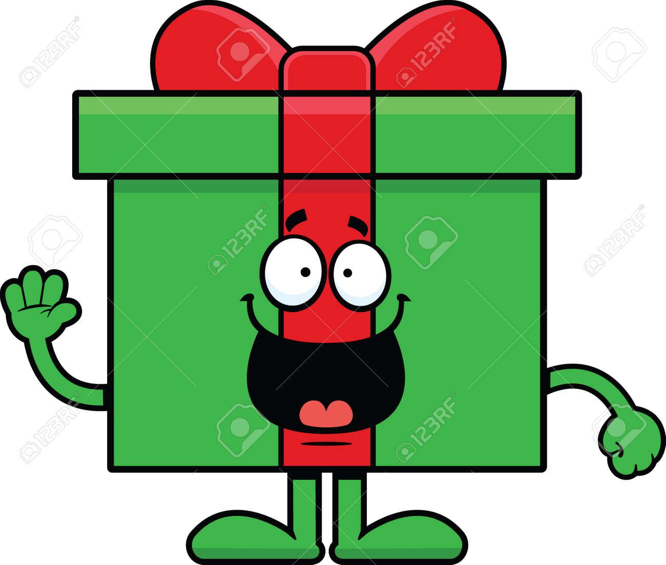 Dibujos De Navidad Regalos.Ilustracion De Dibujos Animados De Un Regalo De Navidad Con Una Expresion Feliz