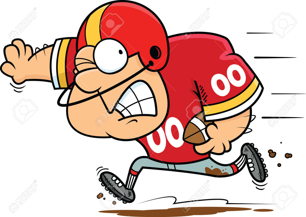 Illustration Of A Cartoon Football Player Running With The Ball