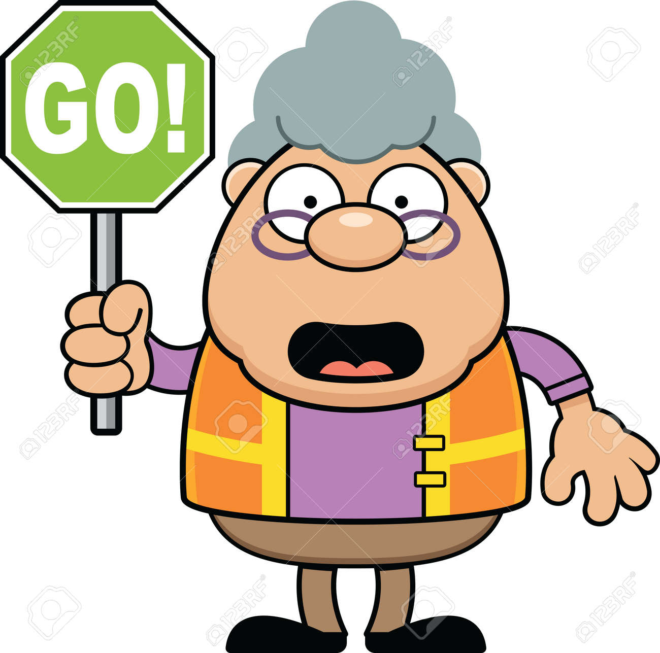 Cartoon Illustration Of A Crossing Guard With A Go Sign. Royalty ...