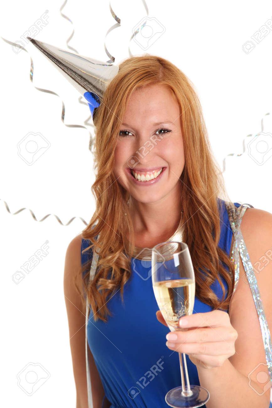 Schöne Party-Girl In Einem Blauen Kleid Mit Einem Glas Champagner ...