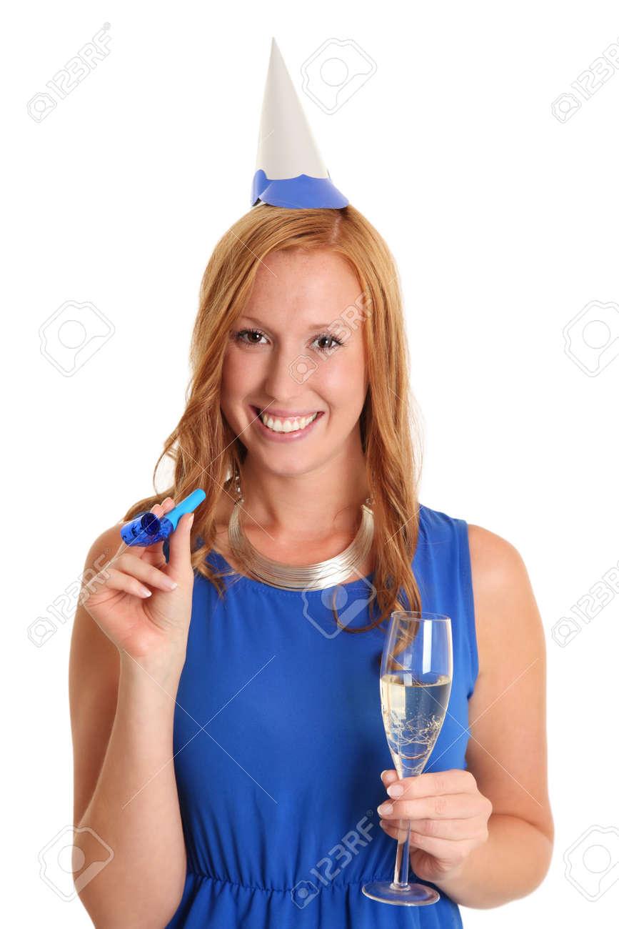 Schöne Party-Girl In Einem Blauen Kleid Mit Einem Partyblower Und ...