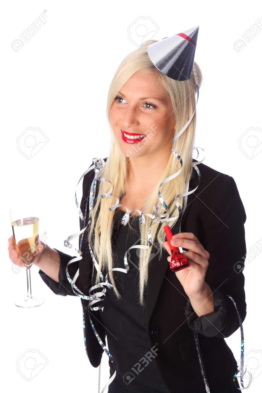 Attraktive Frau Trägt Ein Schwarzes Kleid Partei, Partei-Hut Und ...