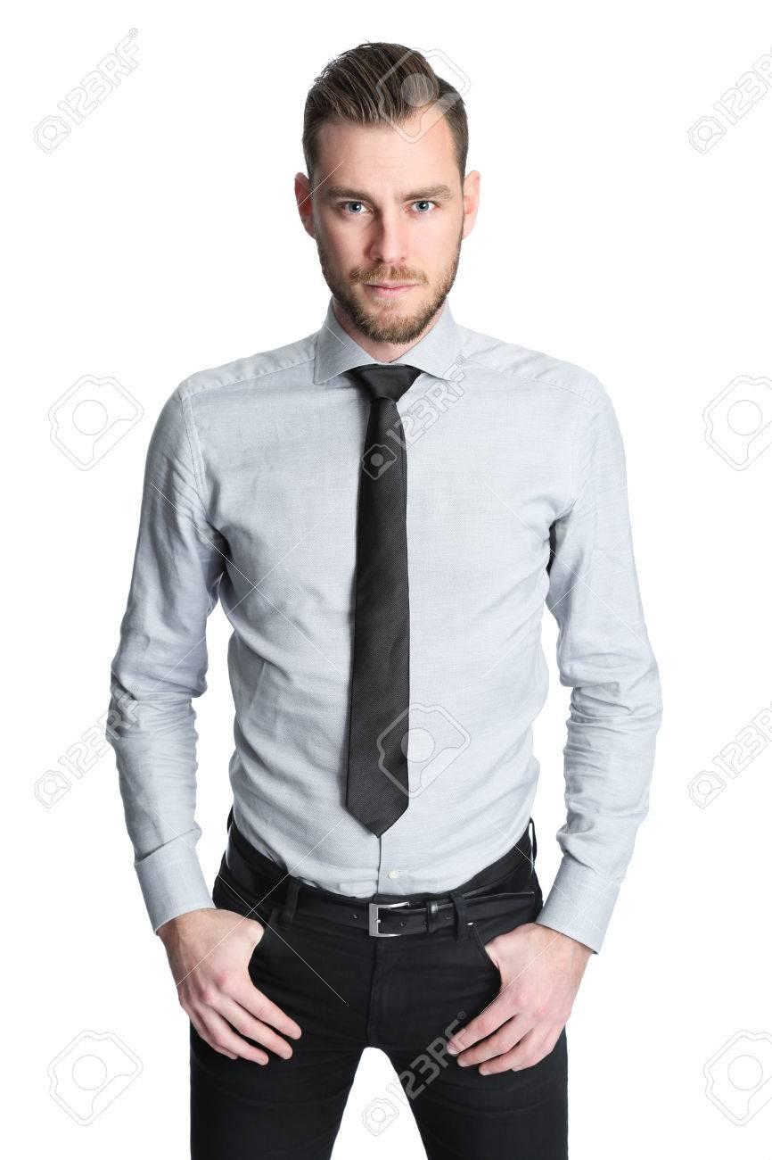 Vêtu D'une Gris Avec Homme Une Attractif Chemise Un D'affaires 1ItqwUz
