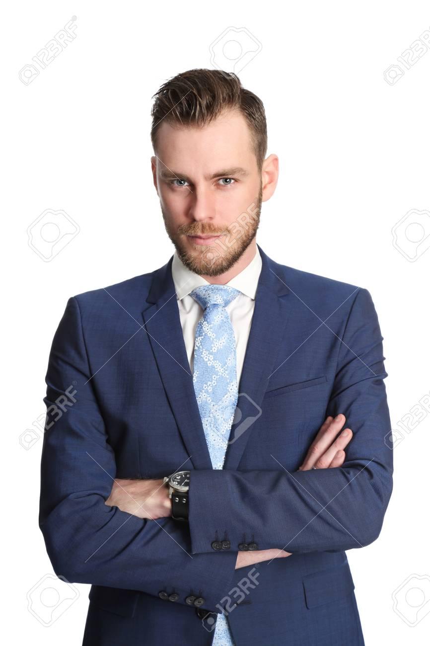 Eine Attraktive Geschäftsmann Trägt Einen Blauen Anzug Und Krawatte
