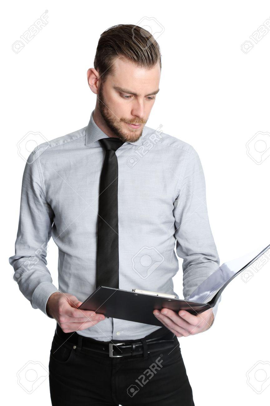 ec89e8c8f Foto de archivo - Un hombre de negocios intenso que llevaba una camisa gris  y corbata negro