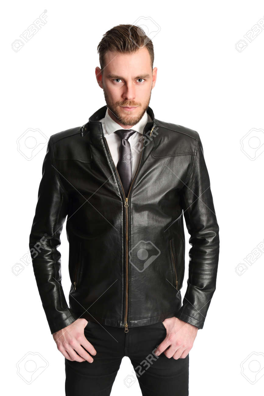 Attractive Man Wearing A White Shirt Black Tie And A Black Leather