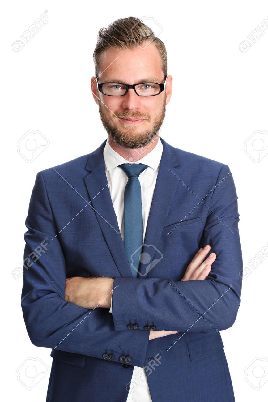 Attraktiver Geschäftsmann In Einem Blauen Anzug Und Krawatte Die