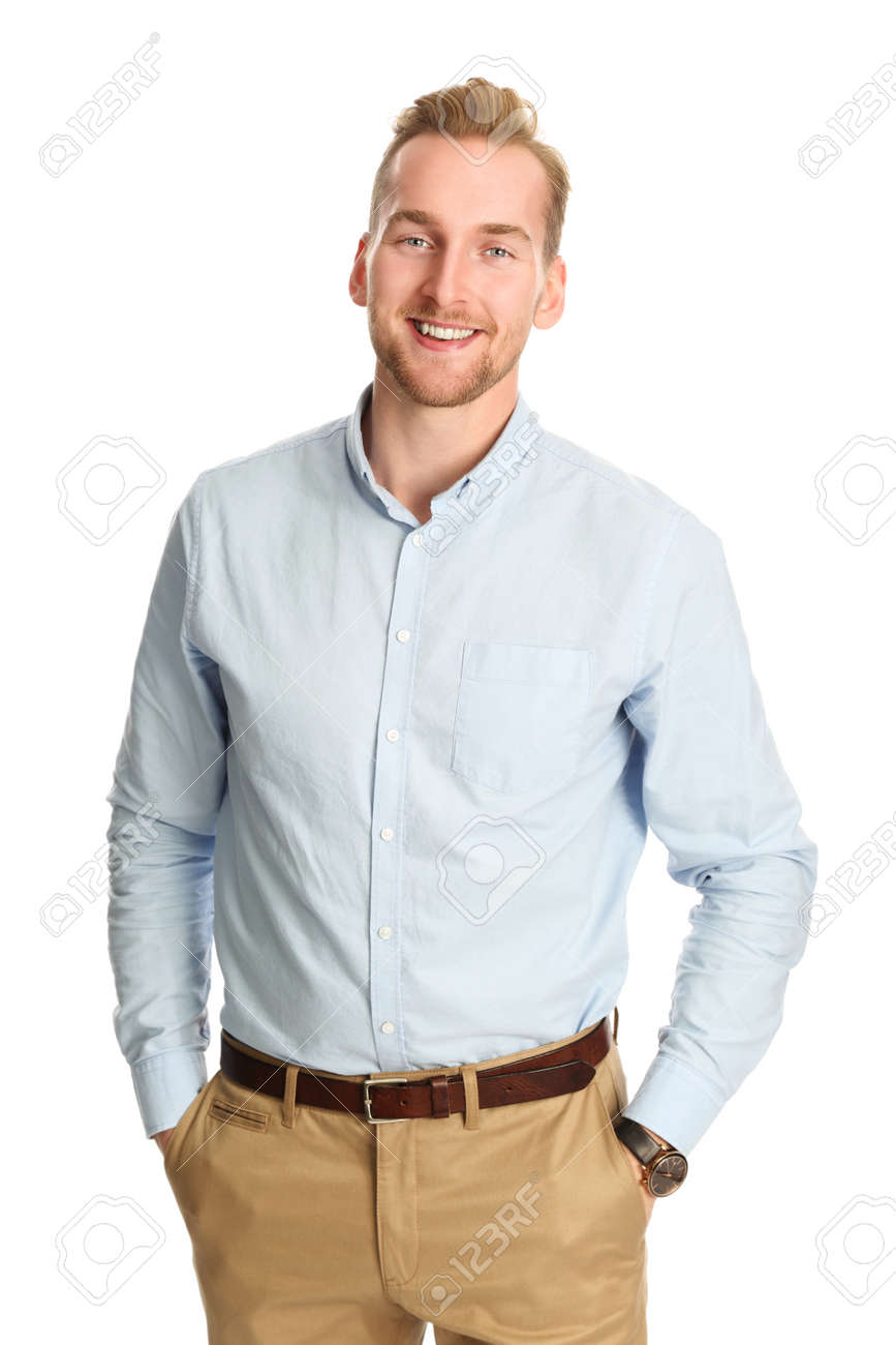 a6fb7d376053 An Attractive Young Man Wearing A Blue Shirt With Khaki Pants ...