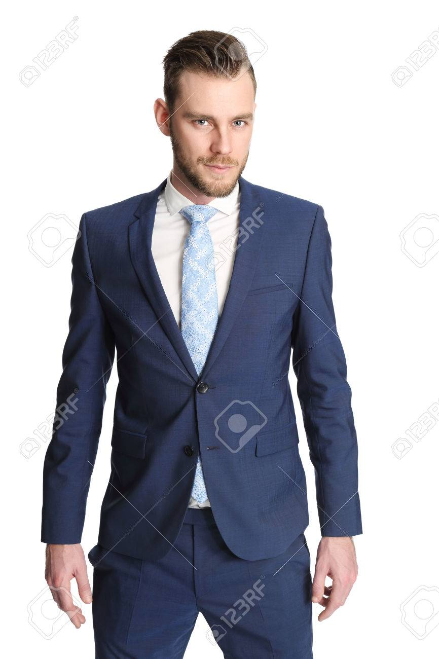 Bien-aimé Affaires Trendy Debout Contre Un Fond Blanc Vêtu D'un Costume Bleu  QE78