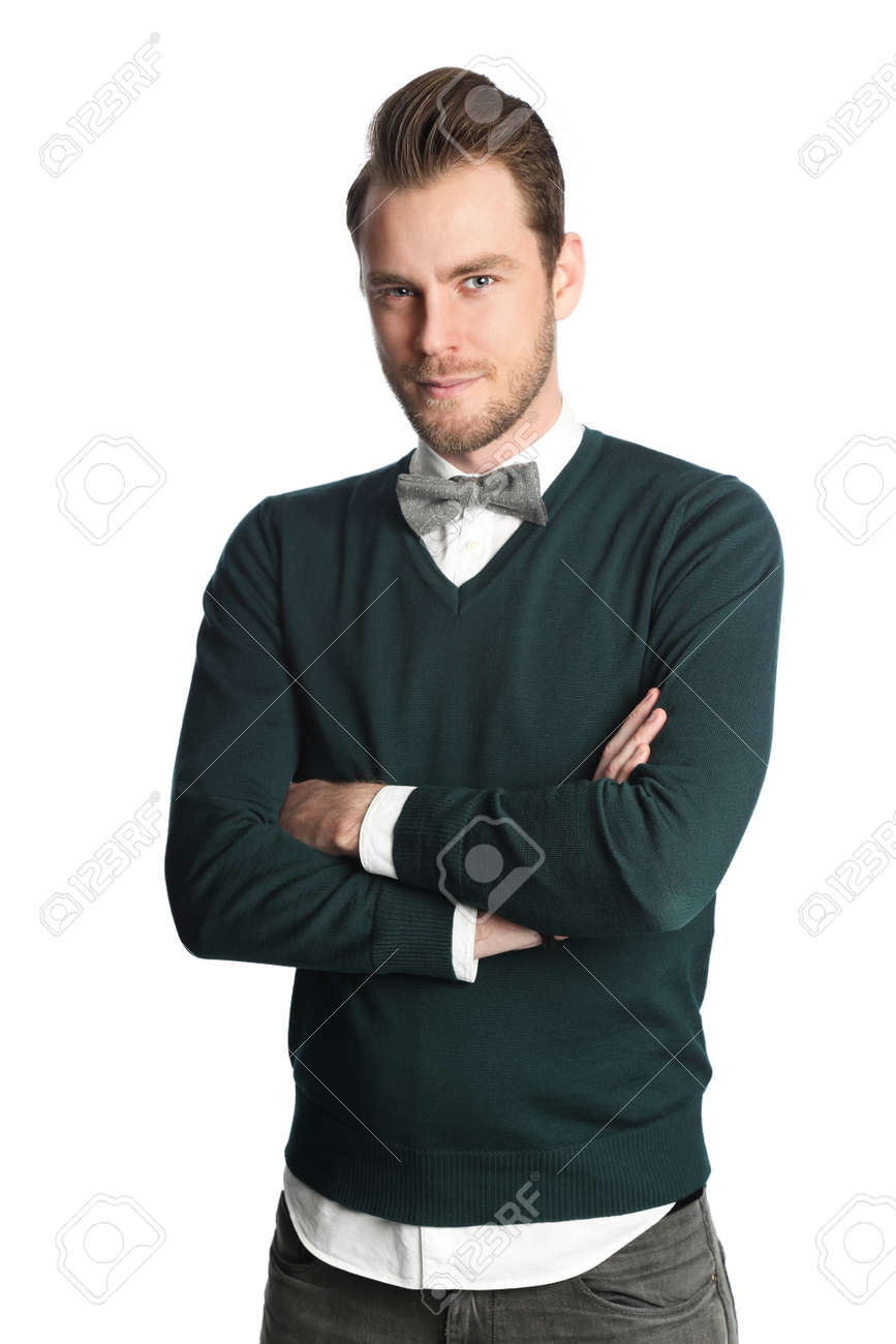 Hombre De Moda Y De Moda Con Una Camisa Blanca Con Un Jersey