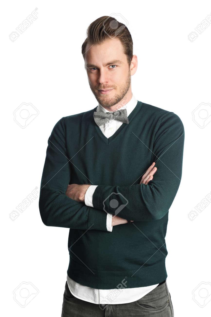 L Homme A La Mode Et A La Mode De Porter Une Chemise Blanche Avec Un