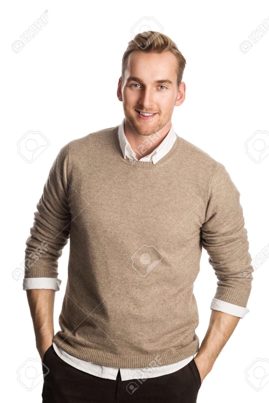 Gut Aussehend Blonder Mann Einen Braunen Pullover Und Ein Weisses