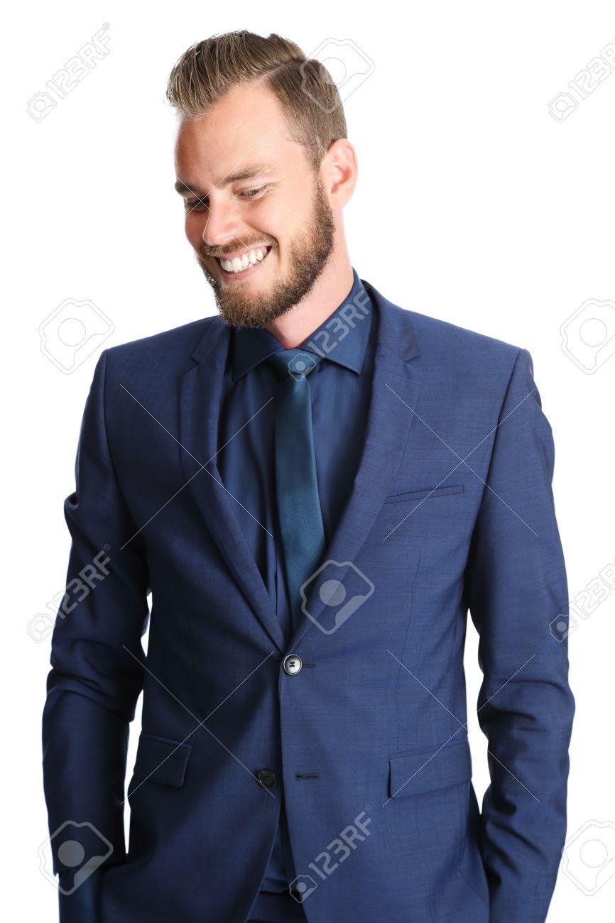 Stattlicher Geschäftsmann Einen Blauen Anzug Und Krawatte Stehen