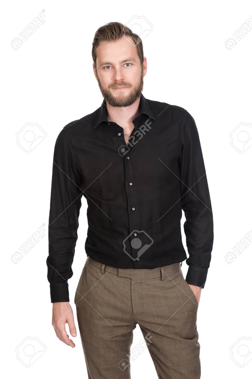 30f740a095 Handsome Man Wearing A Black Shirt And Brown Pants