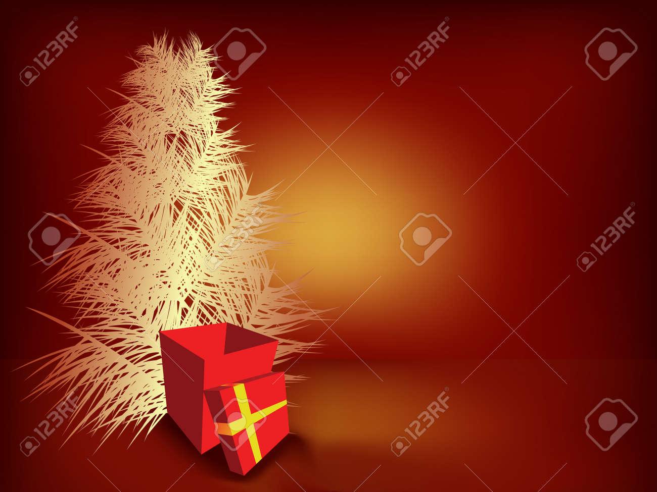 Christmas tree and gift box Stock Vector - 3768763