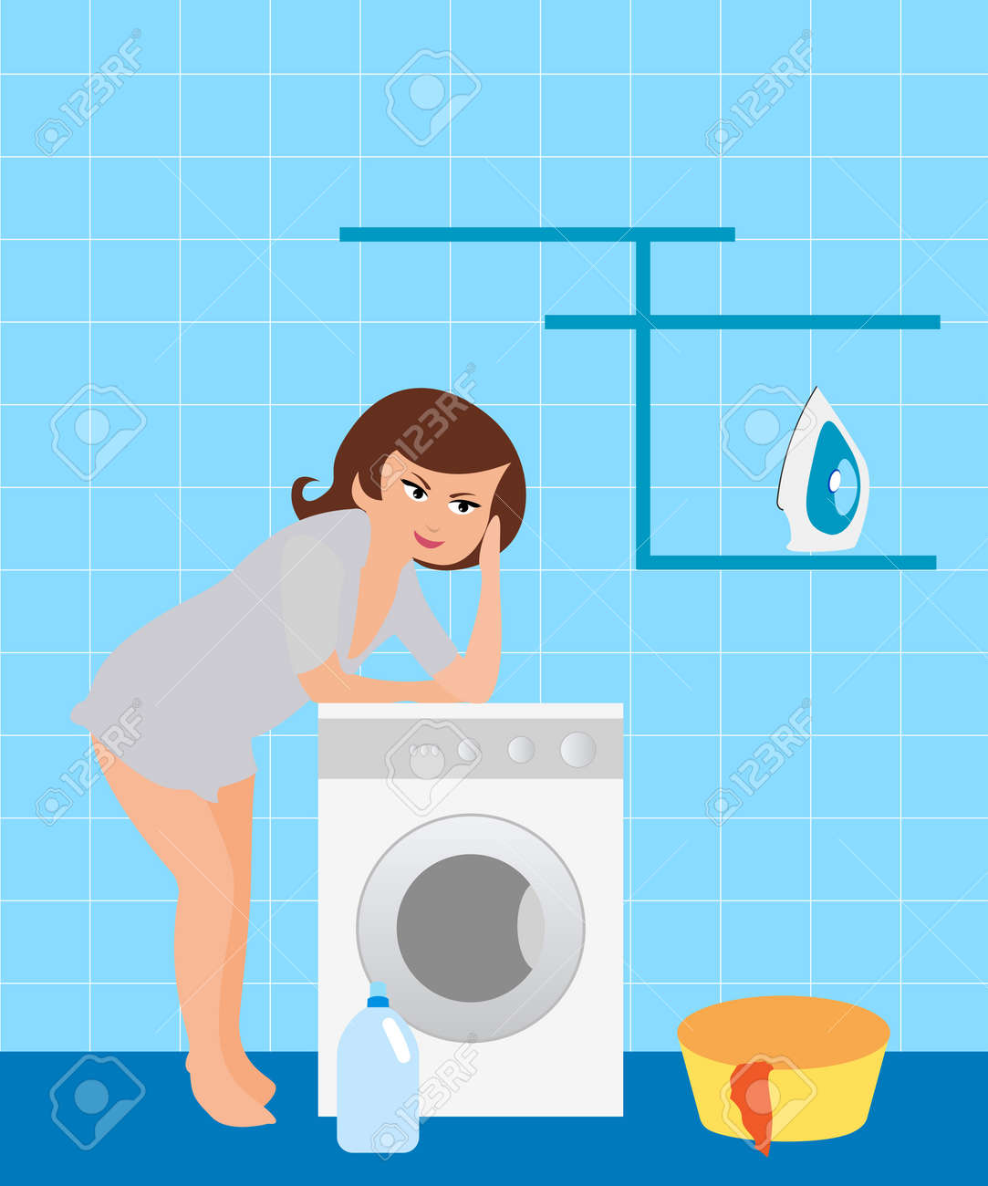 cute washing machine clipart. housewife in the laundry stock vector - 8001574 cute washing machine clipart m
