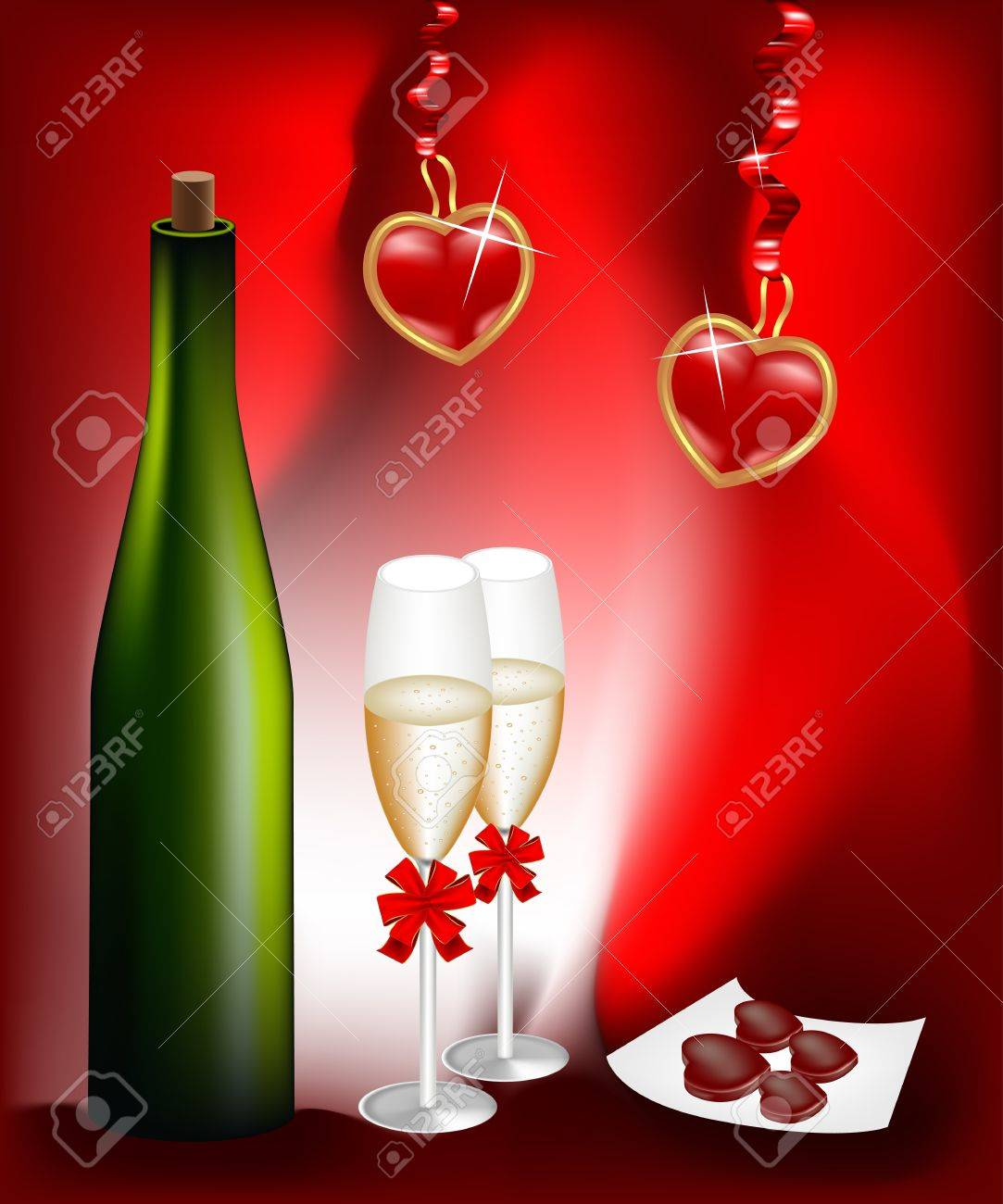Bottle of wine and two glasses Stock Vector - 8767095