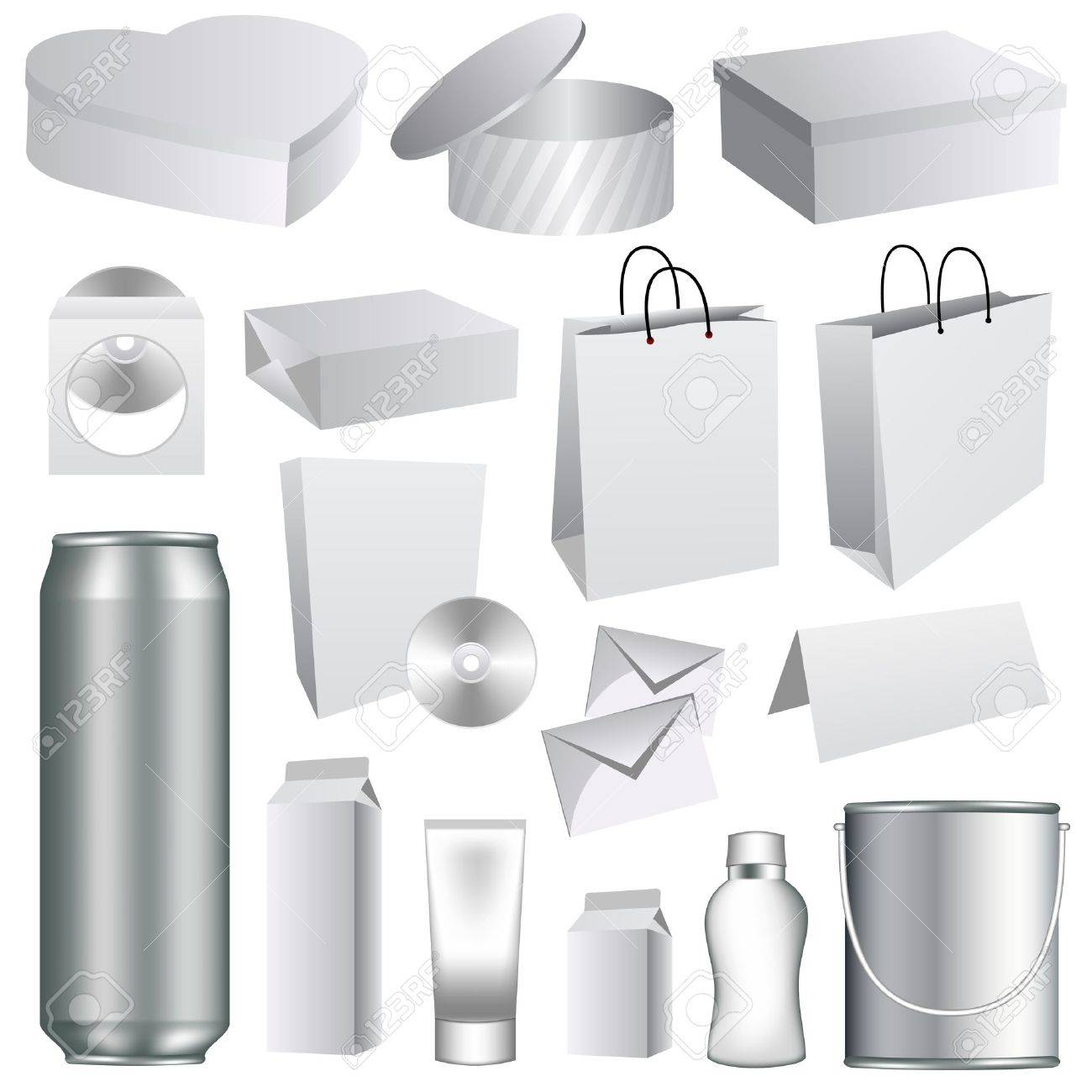 Blank Dummies Packaging Templates Collection. Set Of White Paper ...