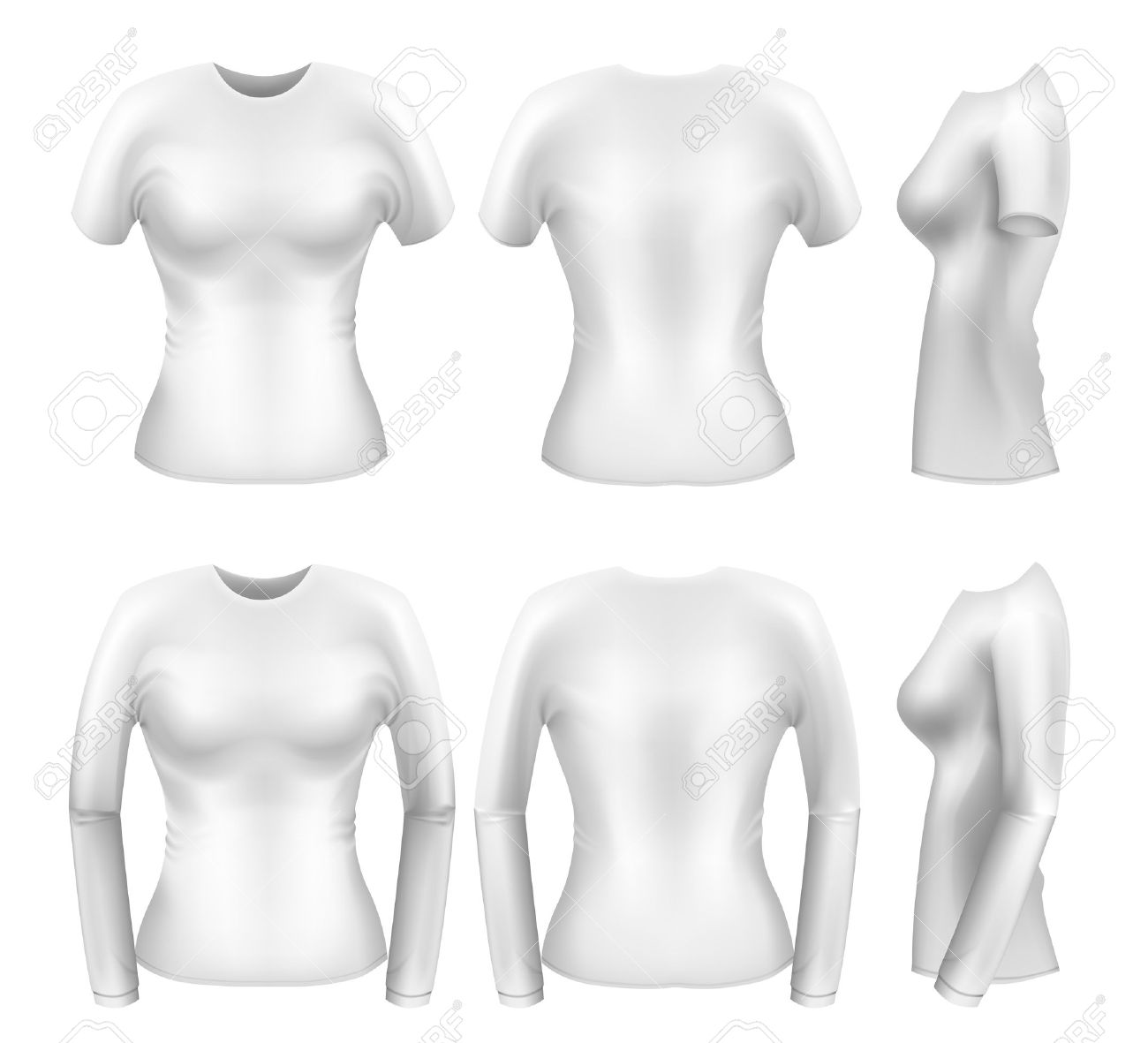 White womens t-shirt templates from all angles Stock Vector - 9062336
