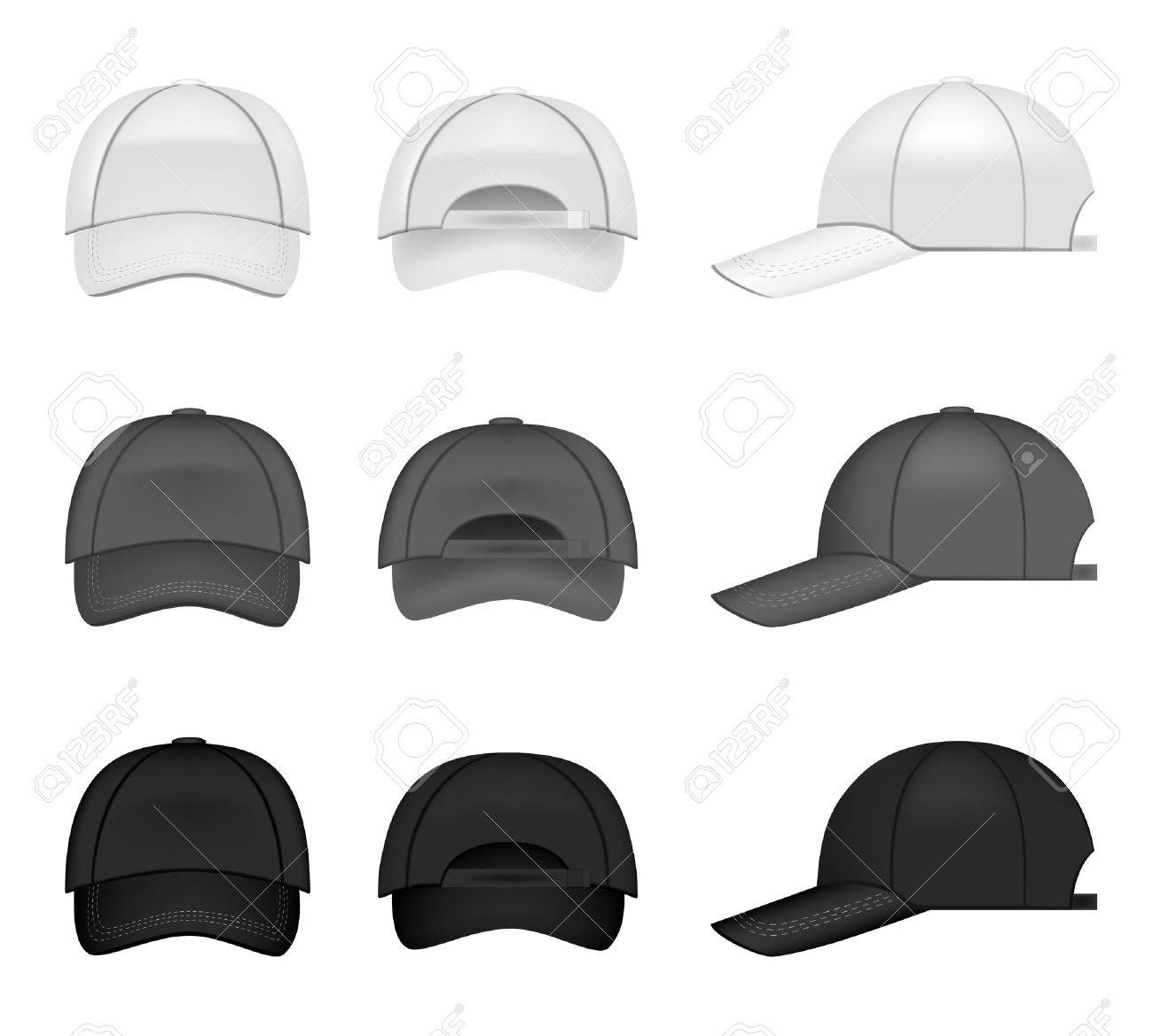 Set of baseball caps, three different colors from all angles Stock Vector - 9157716