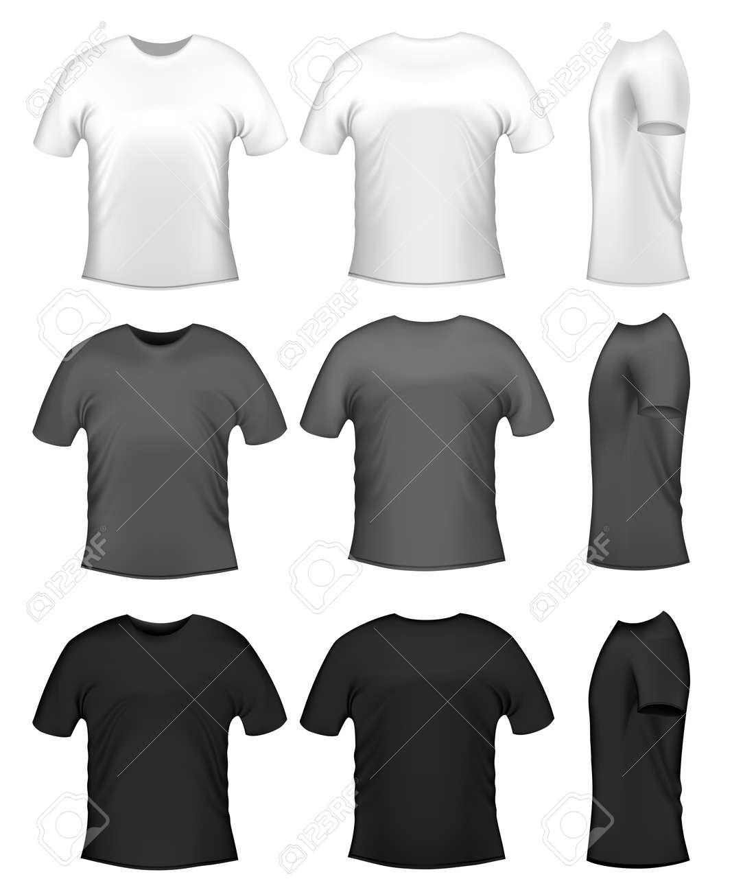 Black t shirt vector - Men S T Shits Collection Of Diferent Colors Royalty Free Cliparts