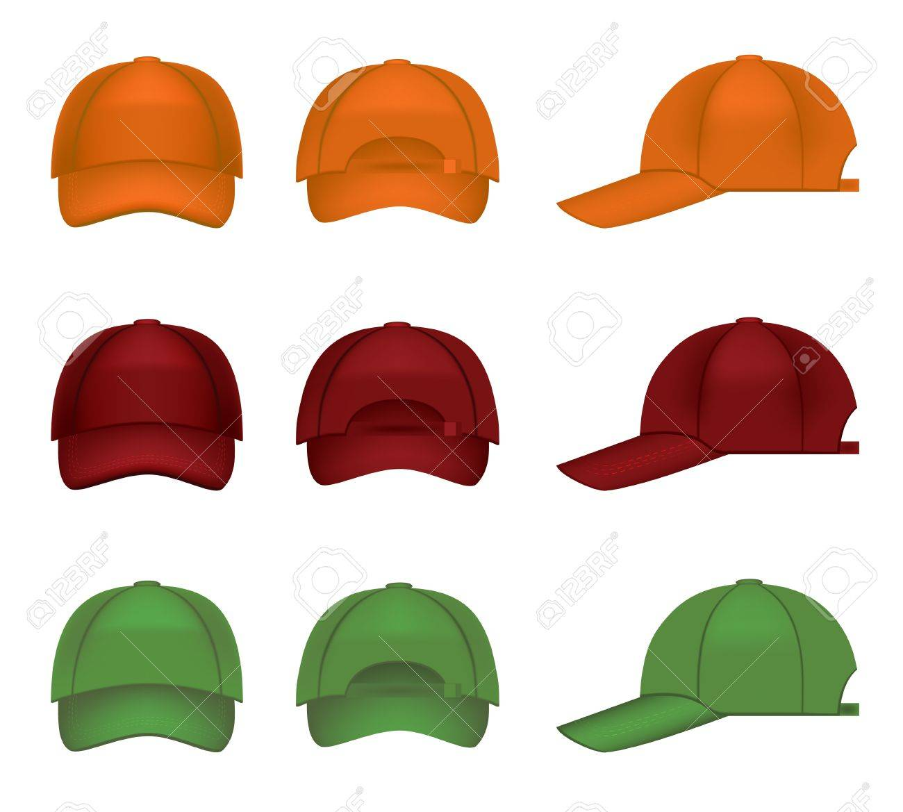 Set of colorful baseball caps Stock Vector - 9475985