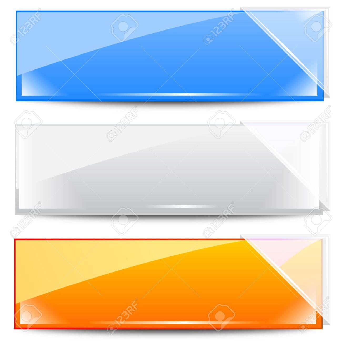 Banners - Frames with White Glass Ribbons Stock Vector - 10281748