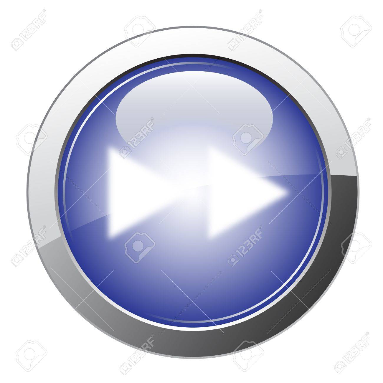 Blue Glossy Fast Forward Button Stock Vector - 10310351