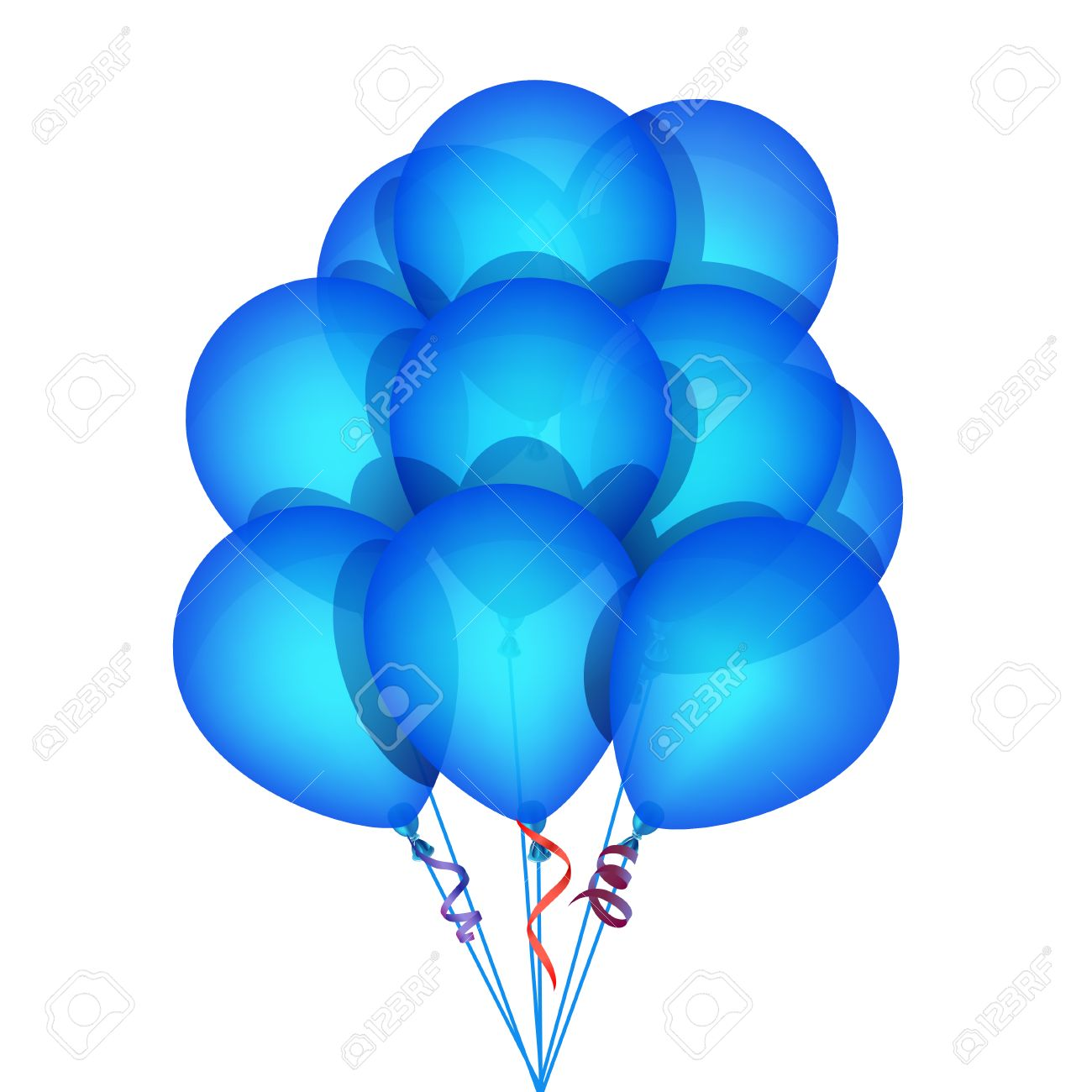 Green and blue balloons - Blue Balloons Blue Party Balloons Illustration