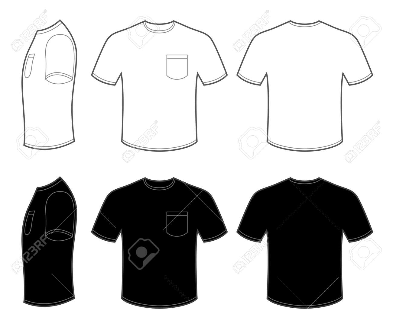 Mans T Shirt With Pocket Stock Vector