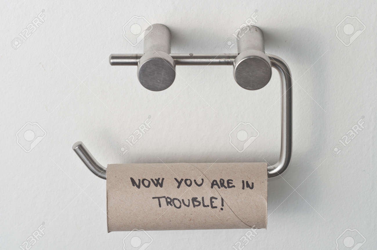Empty roll of toilet paper on metal stand Stock Photo - 9015755