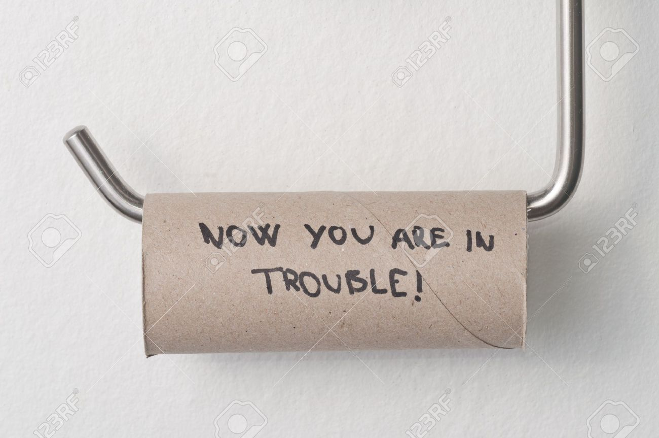 Empty toilet paper roll hanging in a restroom Stock Photo - 9015760