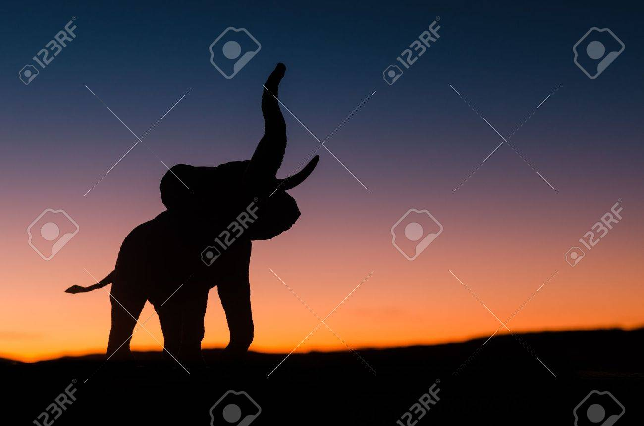 african elephant silhouette trumpeting in sunset in the wild stock photo 16819862