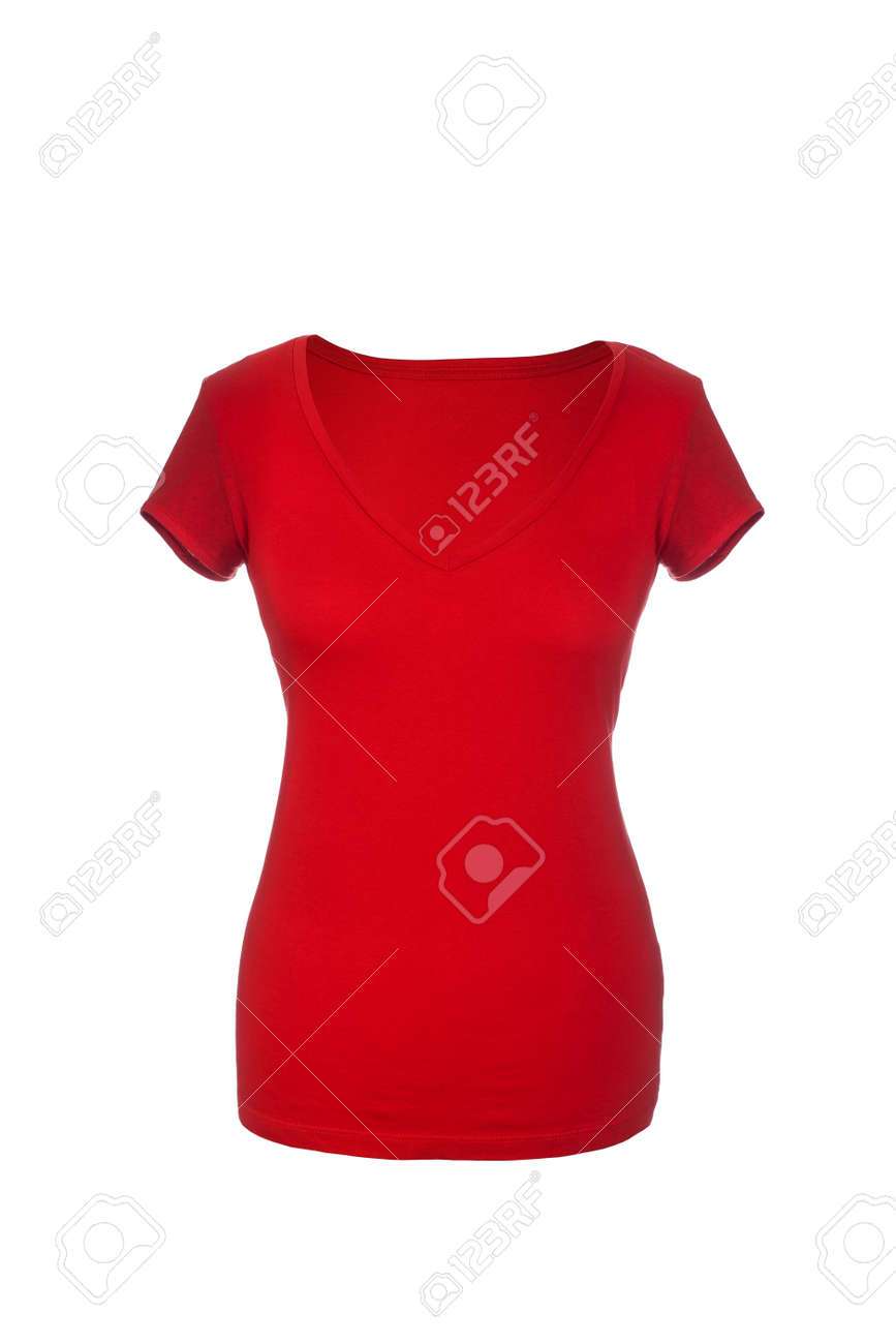 Red Hollow Female T-Shirt, isolated on white background Stock Photo - 17696601