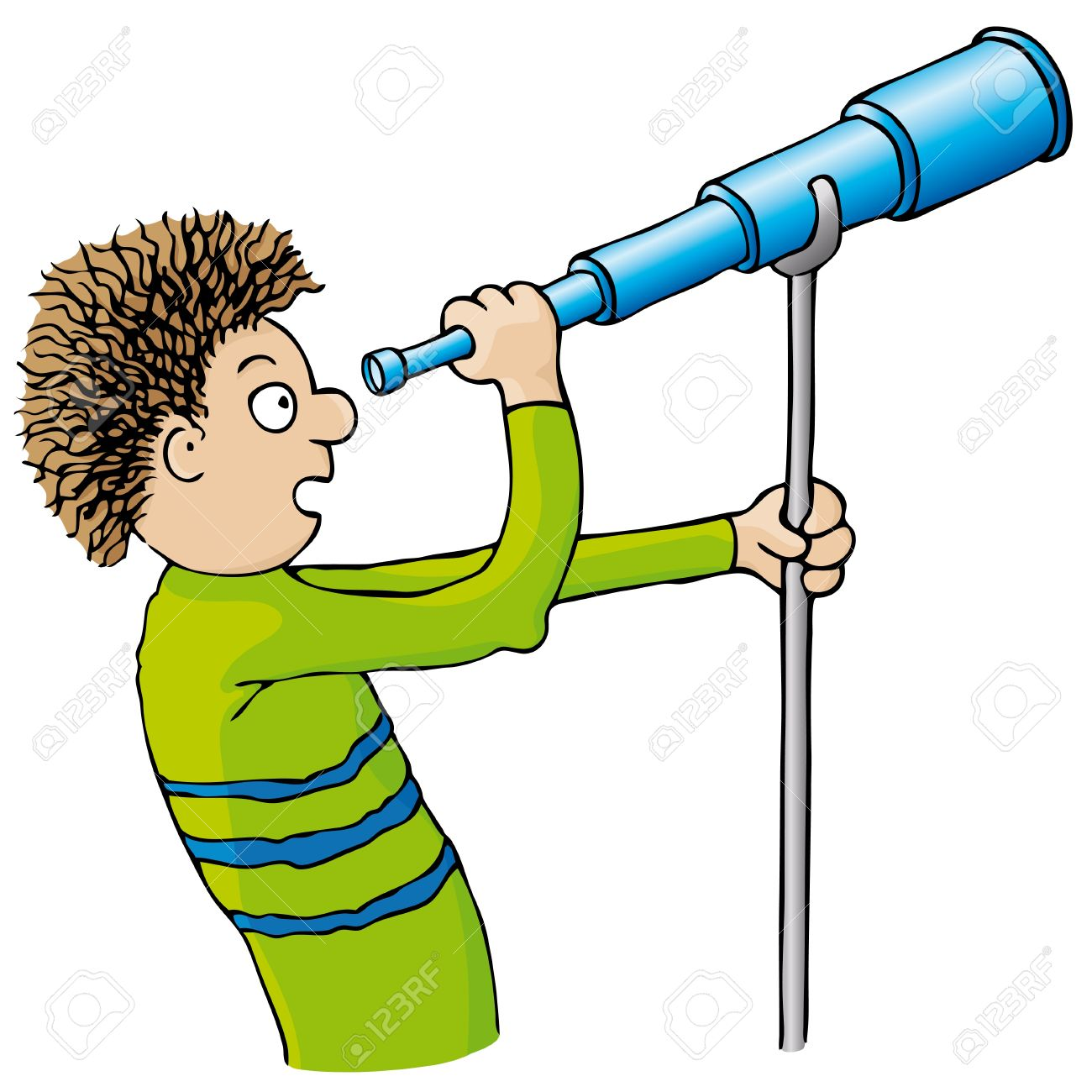 child with telescope royalty free cliparts vectors and stock
