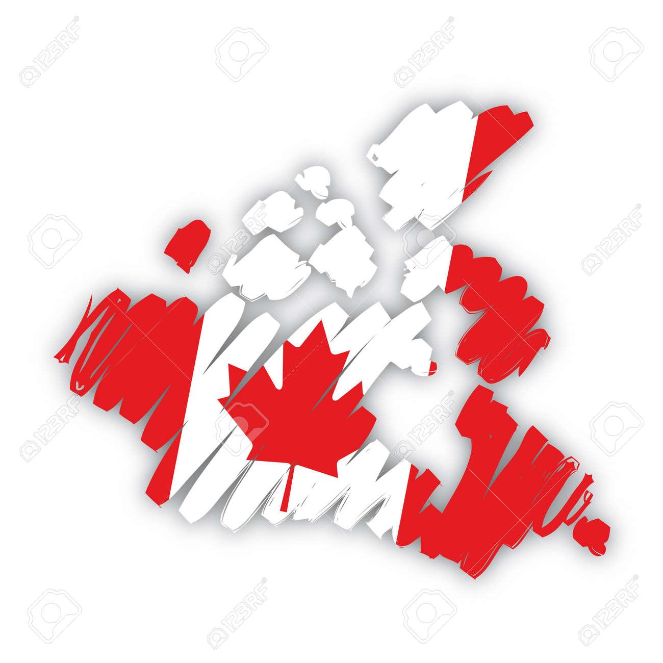 sketch map flag Canada Stock Vector - 10590687