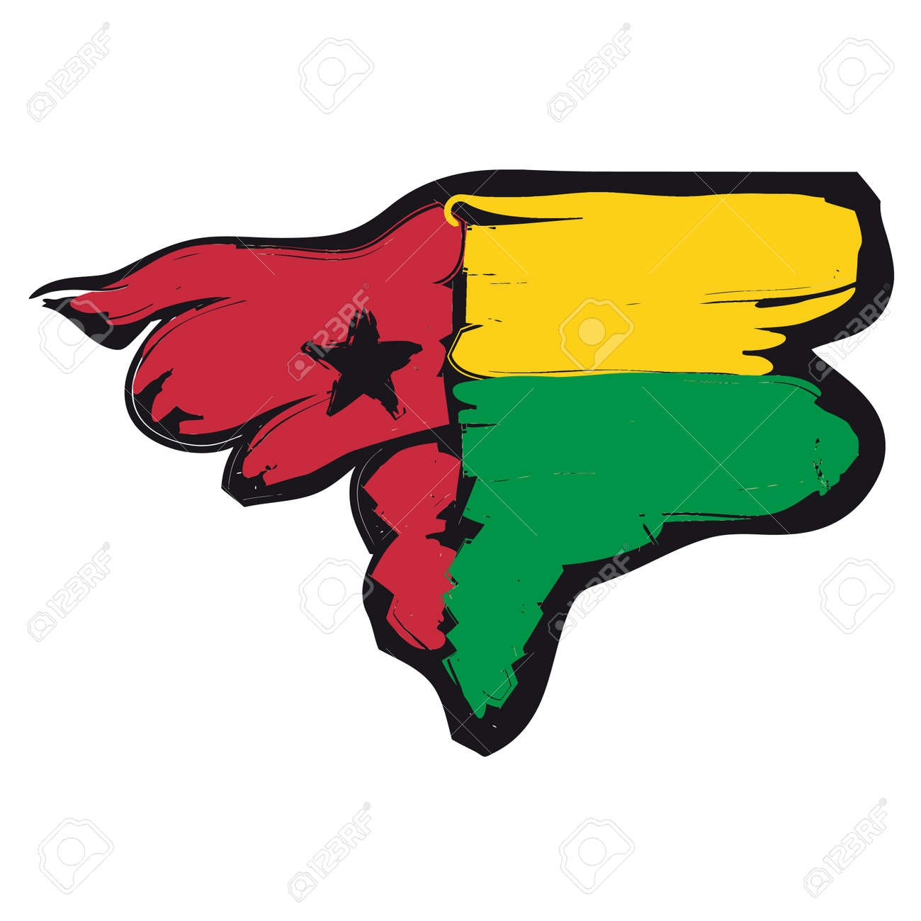 map flag Guinea Bissau Stock Vector - 10638007