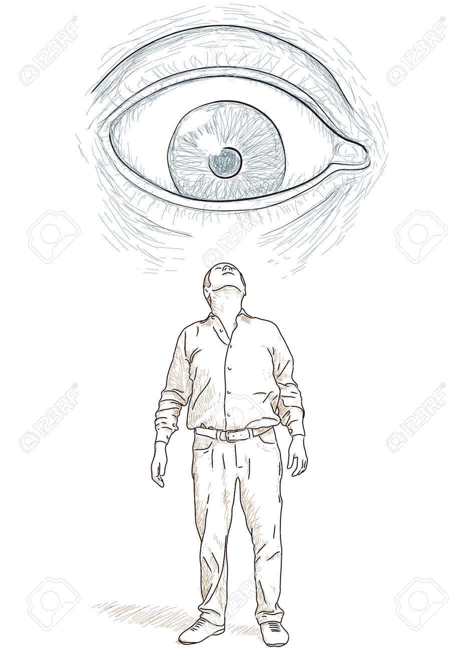 eye that looks at a man Stock Vector - 19067353