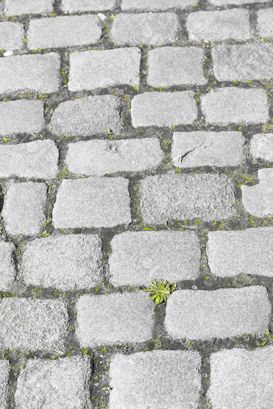 古いをすぐ詳細な歴史的なビンテージ石畳石畳や道路 ヨーロッパで灰色