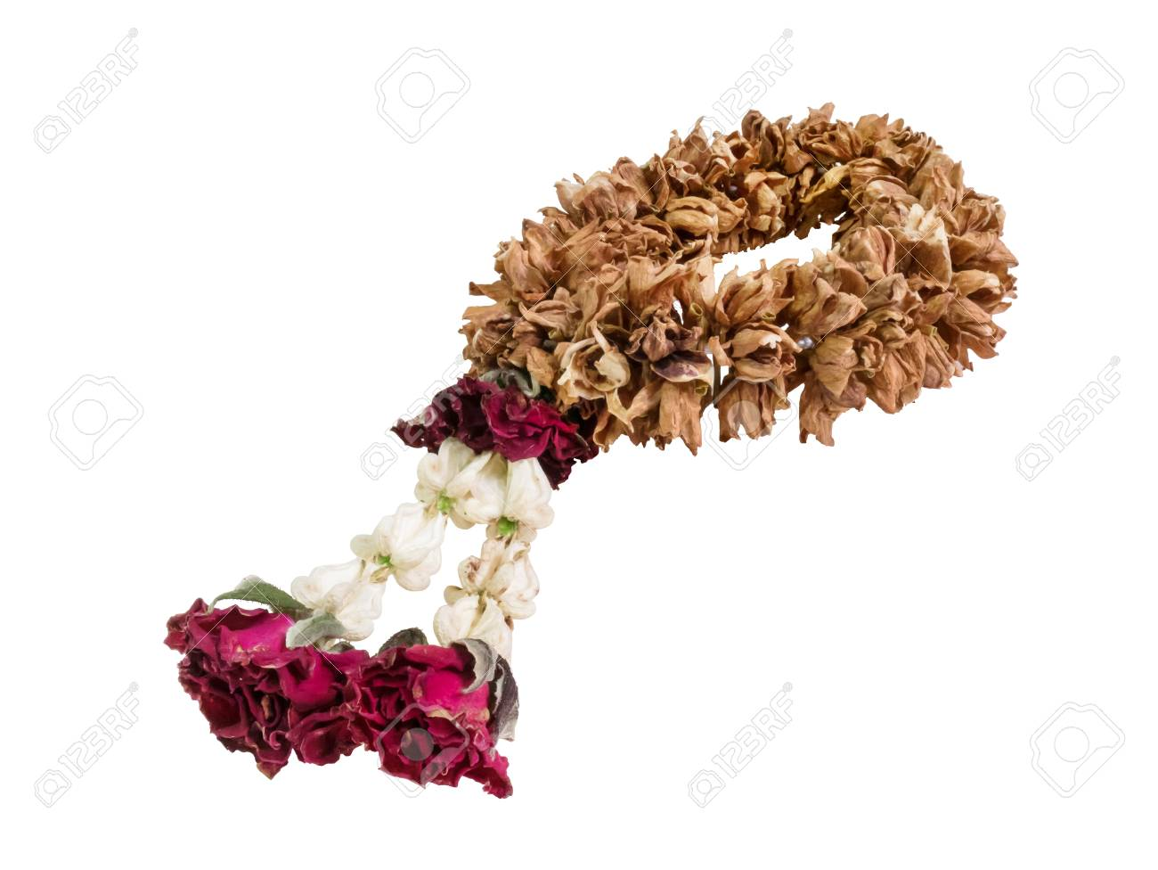 Dry Flower Garland Isolated On White Background Stock Photo, Picture ...