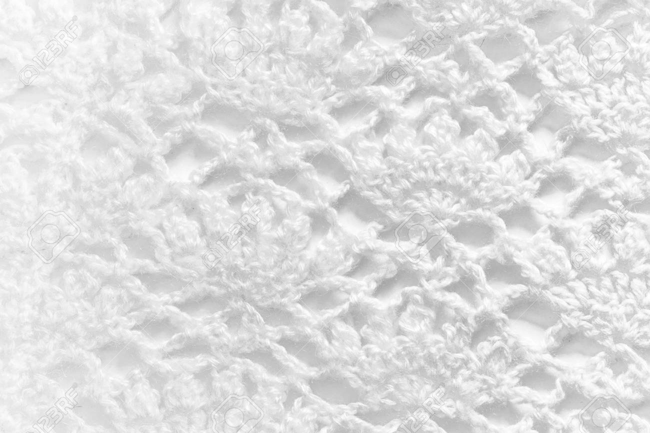 Stock Photo   White Handmade Lace Tablecloth Texture On White Background.