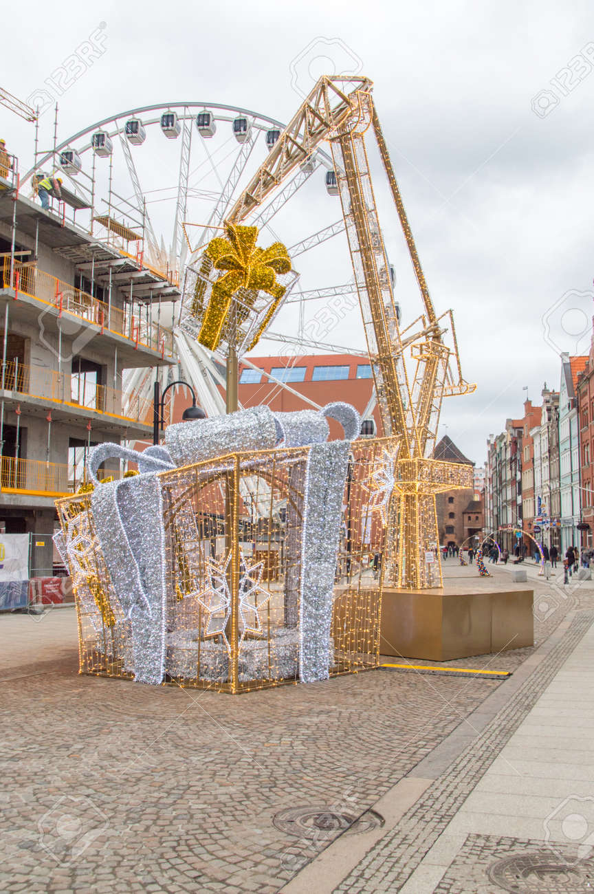Gdansk, Poland - December 7, 2017: Gifts and crane as christmas
