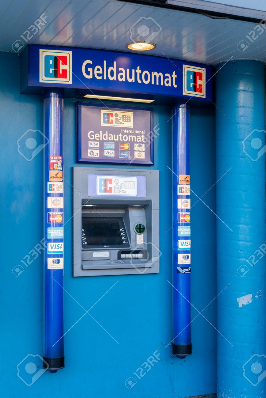 Hamburg, Germany - February 15, 2019: ATM of Geldautomat in Hamburg. - 127812295