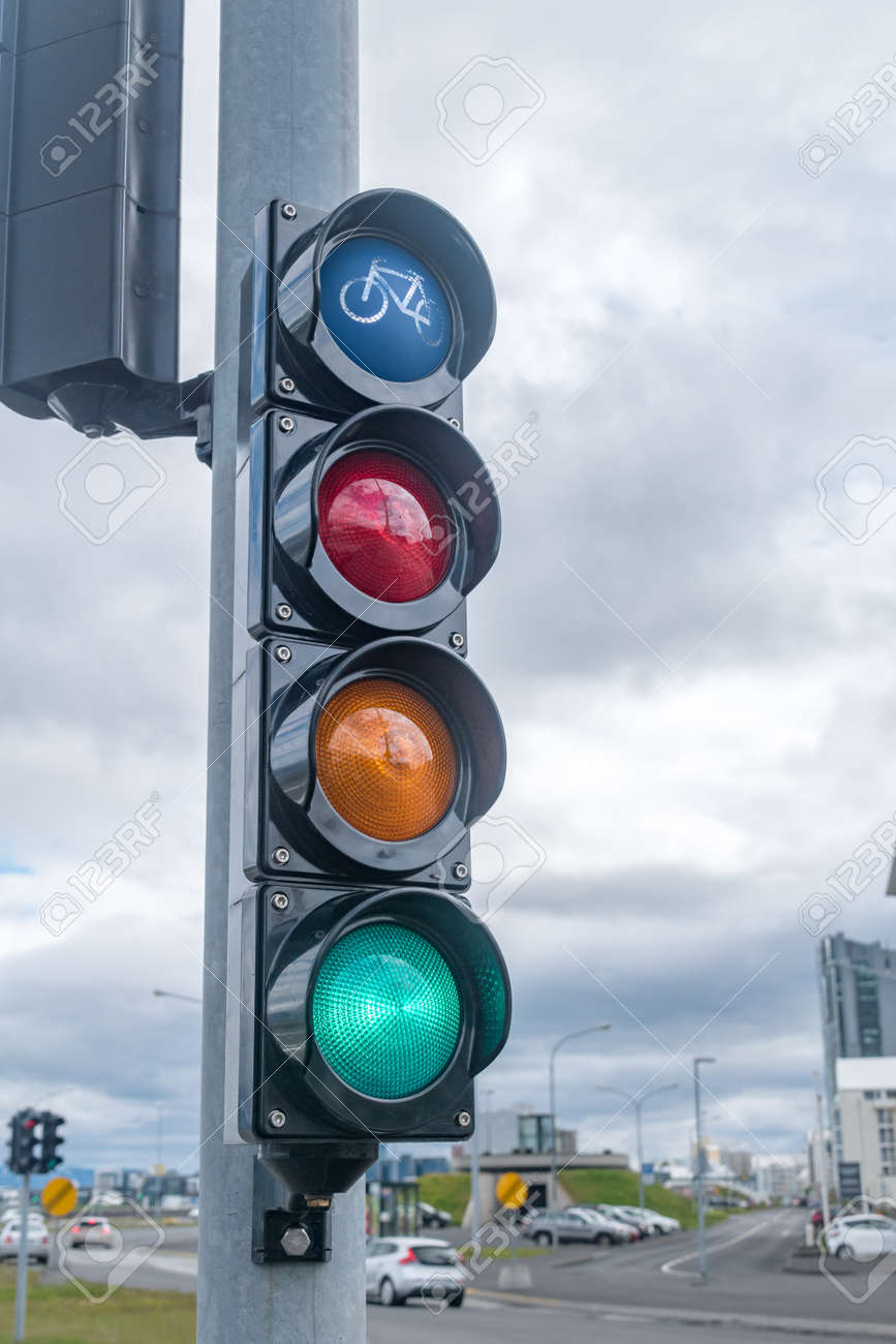 Green traffic light for bicycles in Iceland. - 157304374