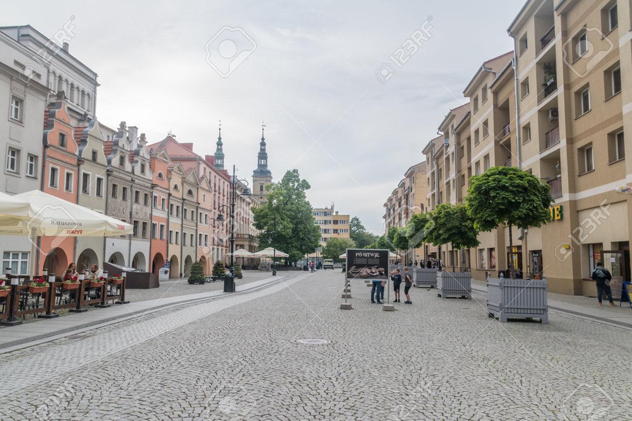 Legnica, Poland - June 1, 2021: Pedestrian market street, market square at cloudy day. - 171697654