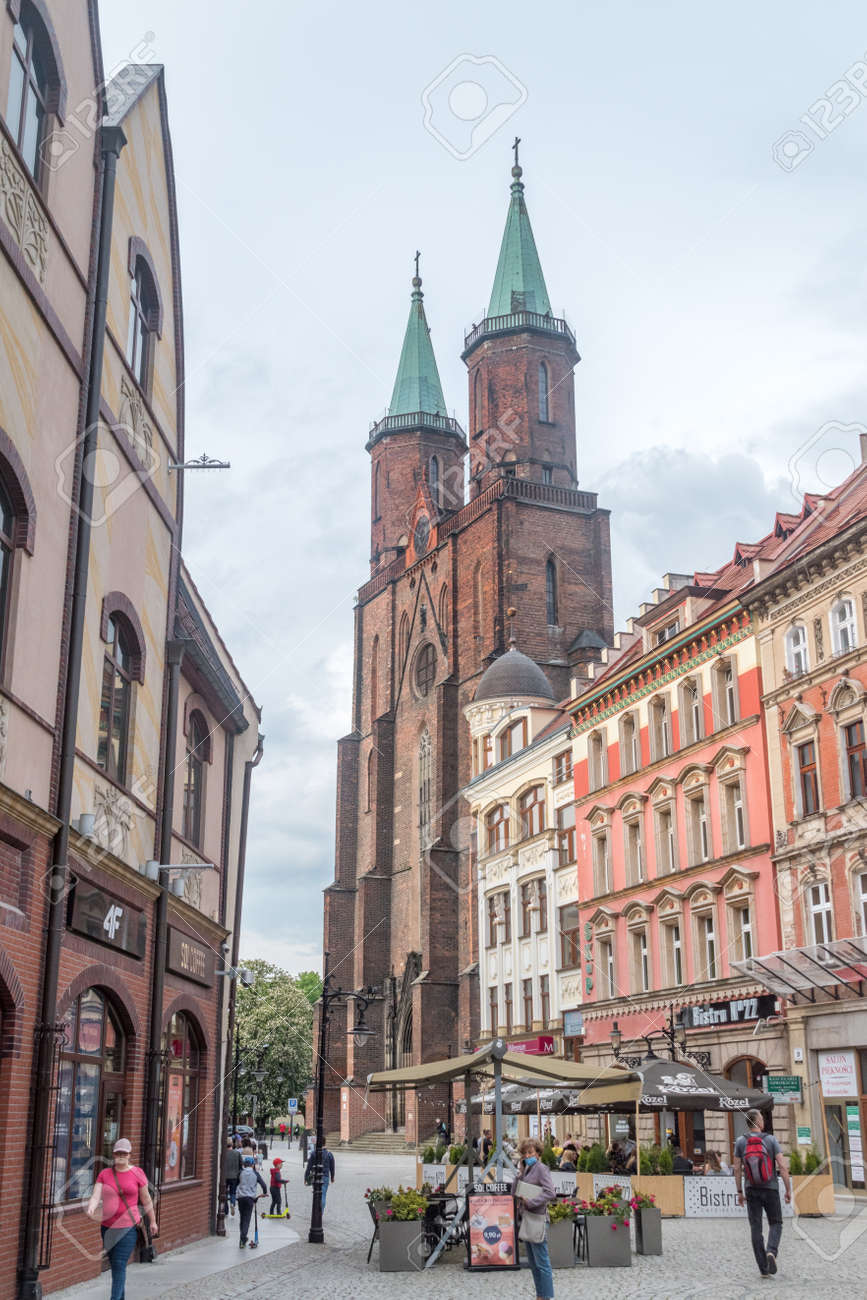 Legnica, Poland - June 1, 2021: Street view with Saint Mary Lutheran church. - 171697665