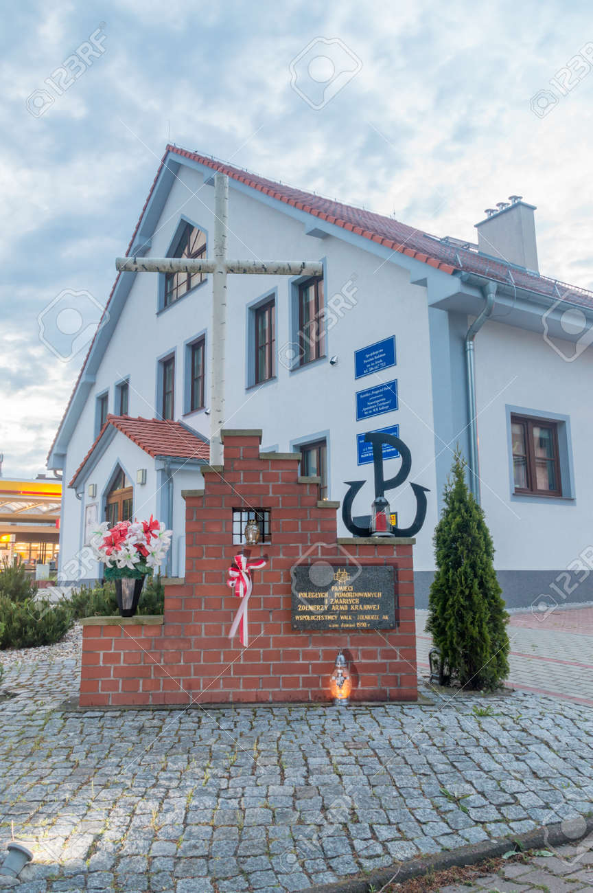 Zgorzelec, Poland - June 2, 2021: Monument to the memory of the fallen, murdered and deceased soldiers of the Home Army. - 171808305